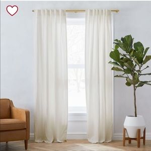 WEST ELM Two Belgian Flax Linen Natural Curtains.
